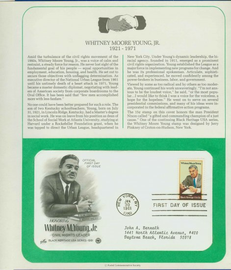 1981 USA FDC Sc# 1875 - Jan 30 � Honoring Whitney M Young Jr on Cachet Addressed Cover E4859P