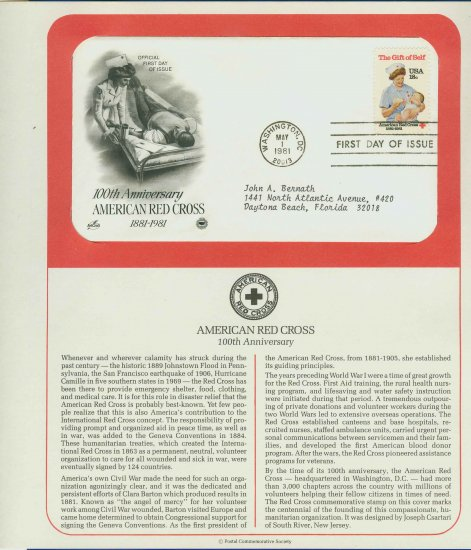 1981 USA FDC Sc# 1910 � May 1 � American Red Cross on Cachet Addressed Cover E4859P