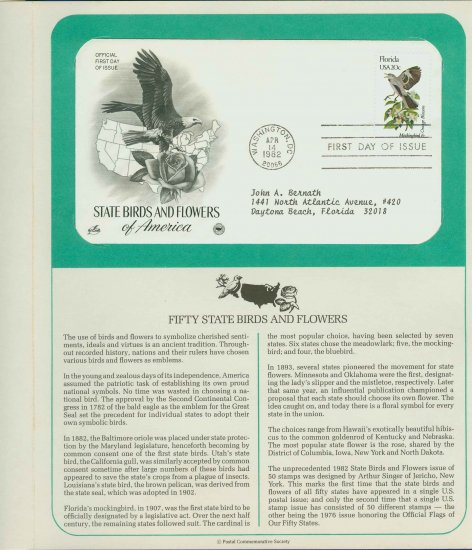 1982 USA FDC Scott# 1961 � Apr 14 � State Birds and Flowers on Cachet Addressed Cover E4859P