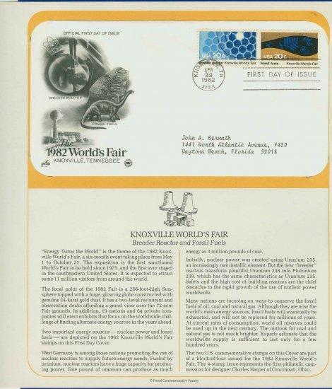 1982 USA FDC Scott# 2008-9 � Apr 29 � The 1982 World�s Fair on Cachet Addressed Cover E4859P