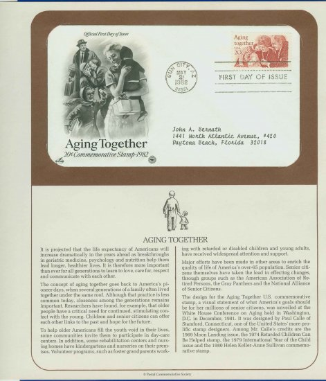 1982 USA FDC Scott# 2011 � May 21 � Aging Together in America on Cachet Addressed Cover E4859P