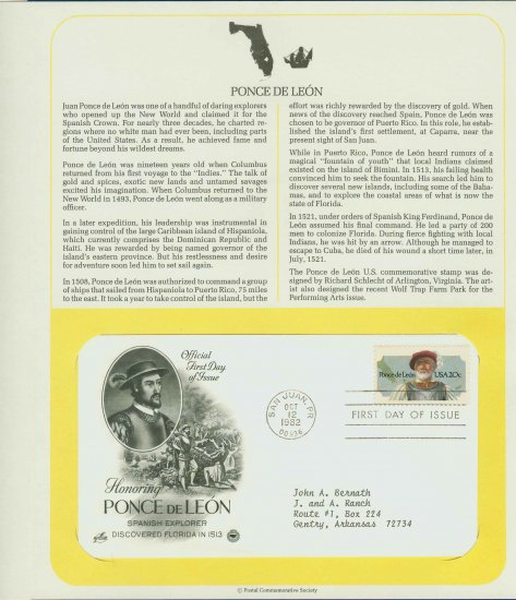 1982 USA FDC Scott# 2024 � Oct 12 � Honoring Ponce de Leon on Cachet Addressed Cover E4859P