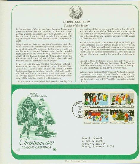 1982 USA FDC Sc# 2027-30 � Oct 28 � Christmas Season Greetings on Cachet Addressed Cover E4859P