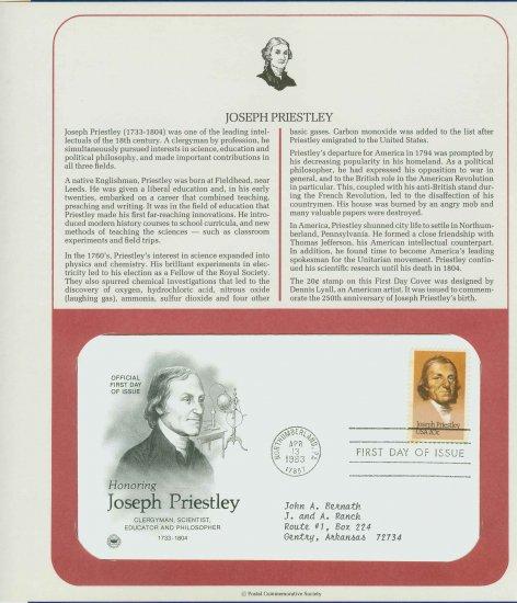 1983 USA FDC Scott# 2038 � Apr 13 � Honoring Joseph Priestley on Cachet Addressed Cover E4859P