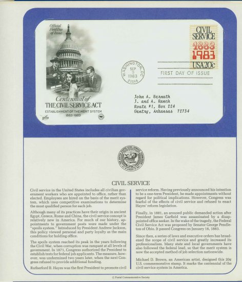 1983 USA FDC Scott# 2053 � Sep 9 � Civil Service Act Centennial on Cachet Addressed Cover E4859P