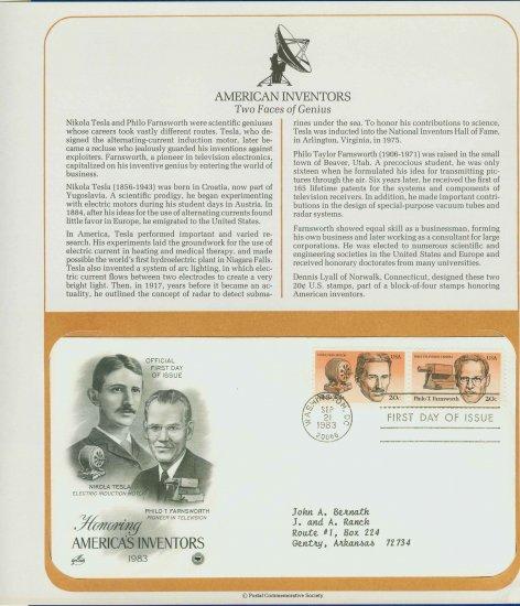 1983 USA FDC Sc# 2057-8 � Sep 21 � Honoring Americas Inventors on Cachet Addressed Cover E4859P