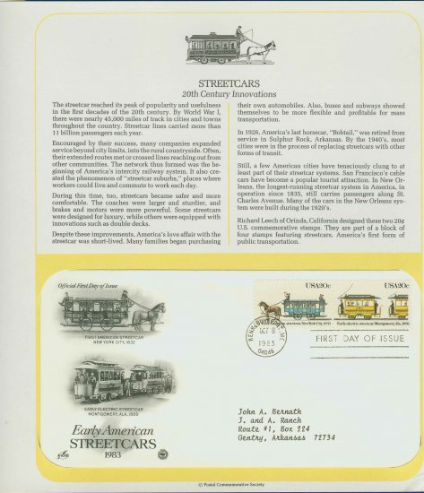 1983 USA FDC Scott# 2059-60 � Oct 8 � Early American Streetcars on Cachet Addressed Cover E4859P