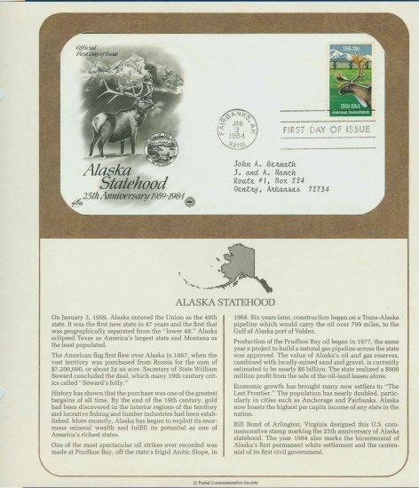 1984 USA FDC Scott# 2066 � Jan 3 � Alaska Statehood on Cachet Addressed Cover E4859P