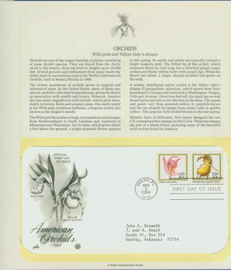 1984 USA FDC Scott# 2076-77 � Mar 5 � American Orchids on Cachet Addressed Cover E4859P