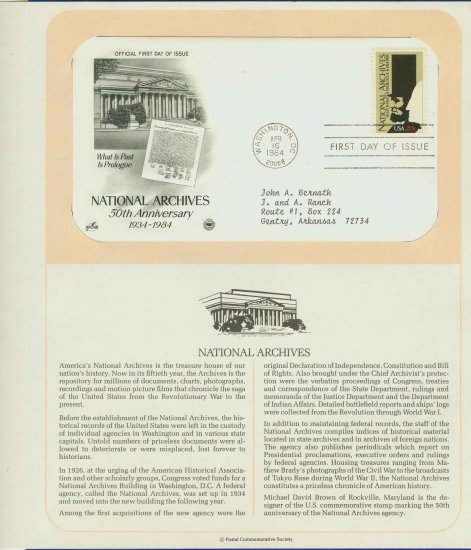 1984 USA FDC Scott# 2081 � Apr 16 � National Archives on Cachet Addressed Cover E4859P