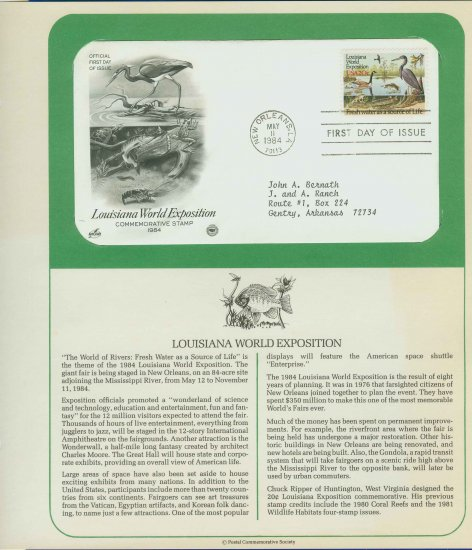 1984 USA FDC Scott# 2086 � May 11 � Louisiana World Exposition on Cachet Addressed Cover E4859P