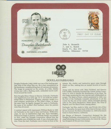 1984 USA FDC Sc# 2088 � May 23 � Honoring Douglas Fairbanks on Cachet Addressed Cover E4859P