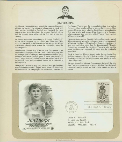 1984 USA FDC Sc# 2089 � May 24 � All-Around Athlete Jim Thorpe on Cachet Addressed Cover E4859P
