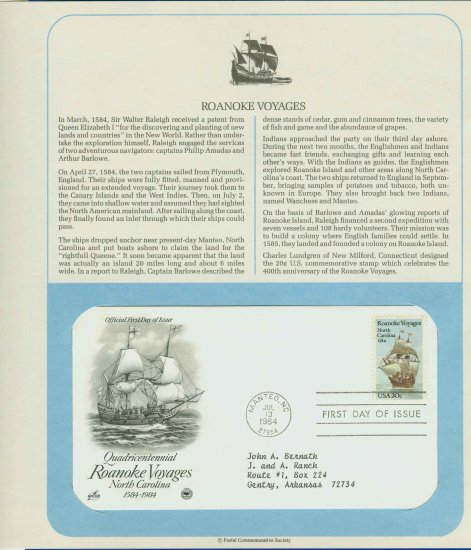 1984 USA FDC Scott# 2093 � Jul 13 � Roanoke Voyages on Cachet Addressed Cover E4859P