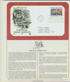 1984 USA FDC Scott# 2103 � Oct 31 � Hispanic Americans on Cachet Addressed Cover E4859P