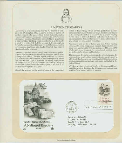 1984 USA FDC Scott# 2106 � Oct 16 � A Nation of Readers on Cachet Addressed Cover E4859P