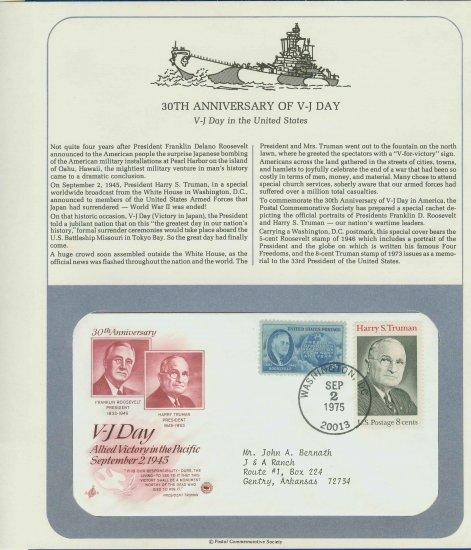 1975 USA Cover Sc# 933, 1499 � 30th Anniversary V-J Day on Cachet addressed E4859P