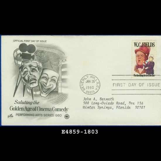 1980 USA FDC Scott# 1803 � Jan 29 � Golden Age of Cinema Comedy on Cachet Addressed Cover E4859