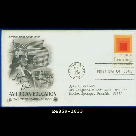 USA FDC Scott# 1833 � Sep 12, 1980 � Learning Never Ends on Cachet Addressed Cover E4859