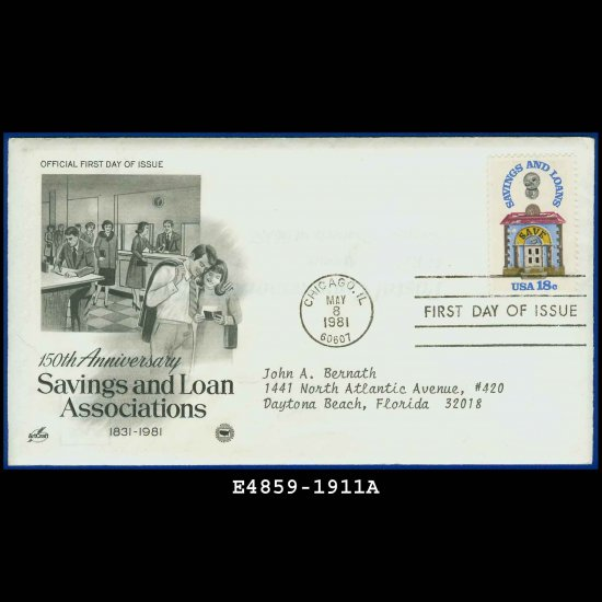 USA FDC Sc# 1911 � May 8, 1981 � Savings and Loan Associations on Cachet Addressed Cover E4859