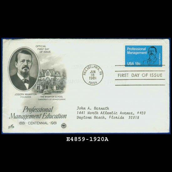 USA FDC Scott# 1920 � Jun 18, 1981 � Professional Management on Cachet Addressed Cover E4859