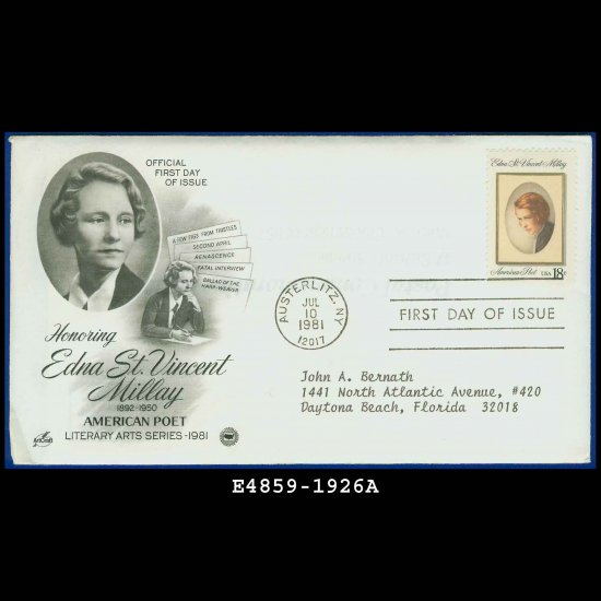 USA FDC Sc# 1926 � Jul 10 1981 � Honoring Edna St Vincent Millay Cachet Addressed Cover E4859
