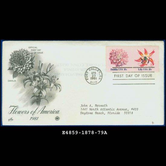 USA FDC Scott# 1878-79 � Apr 23, 1981 � Flowers of America on Cachet Addressed Cover E4859