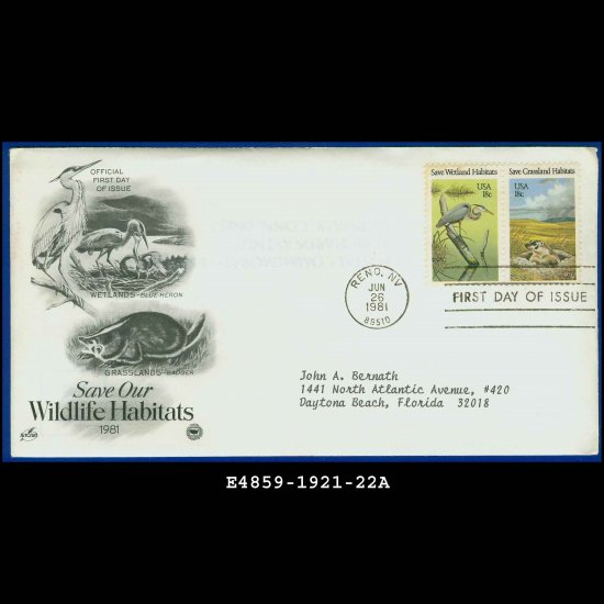 USA FDC Sc# 1921-22 � Jun 26, 1981 � Save Our Wildlife Habitats on Cachet Addressed Cover E4859