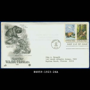 USA FDC Sc# 1923-24 � Jun 26, 1981 � Save Our Wildlife Habitats on Cachet Addressed Cover E4859