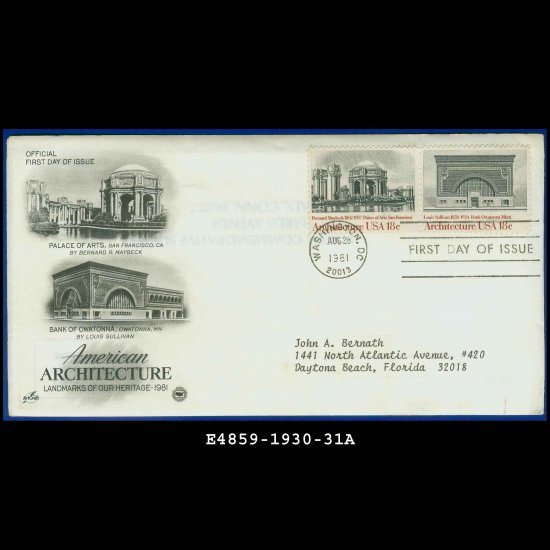 USA FDC Scott# 1930-31 � Aug 28, 1981 � American Architecture on Cachet Addressed Cover E4859