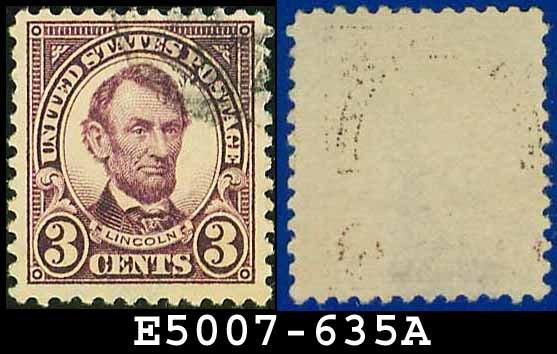 1926-28 USA USED Scott# 635 - 3c Violet Lincoln - 1926-28 Regular Issue