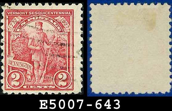 1927 USA USED Scott# 643 - 2c Green Mountain Boy - 1927 Commemoratives