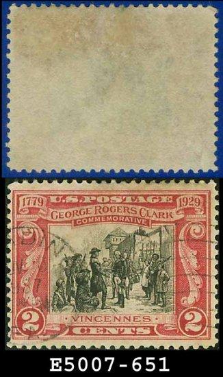 1929 USA USED Scott# 651 - 2c Surrender of Fort Sackville - 1929 Commemoratives