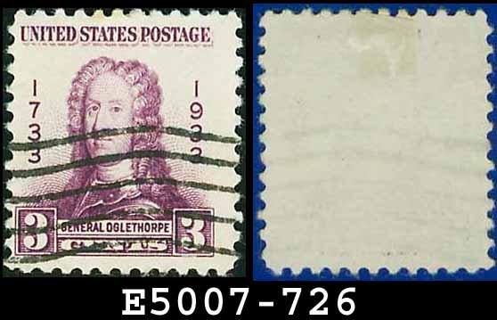 1933 USA USED Scott# 726 � 3c Gen. Oglethorpe � 1933 Georgia Bicentennial