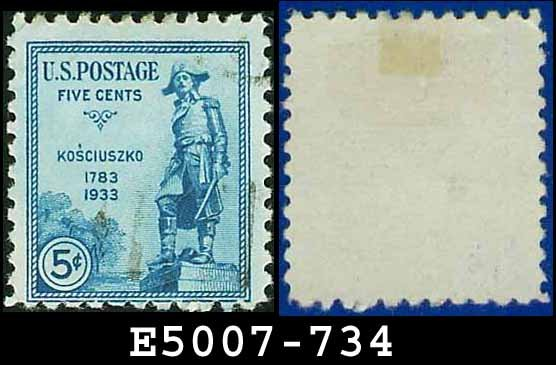 1933 USA USED Scott# 734 � 5c General Kosciuszko � 1933 Commemoratives