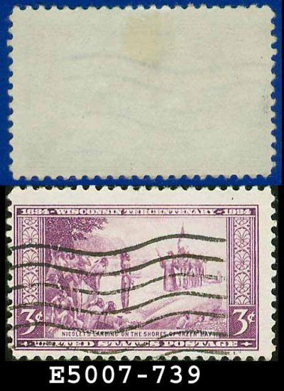 1934 USA USED Scott# 739 � 3c Nicolet's Landing at Green Bay � 1934 Commemoratives