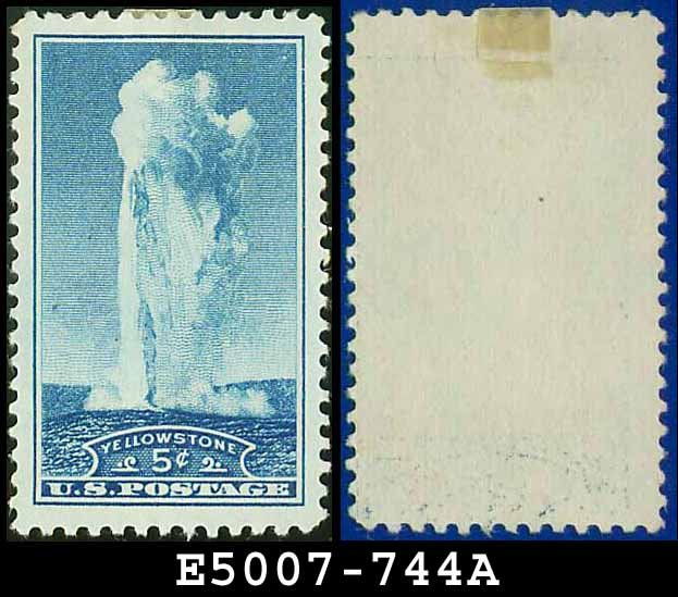 1934 USA UNUSED Scott# 744 � 5c Yellowstone � 1934 National Parks Issue