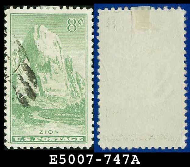 1934 USA USED Scott# 747 � 8c Zion, Utah � 1934 National Parks Issue