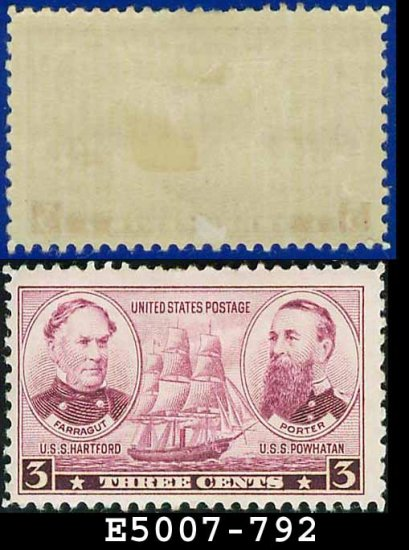 1936-37 USA UNUSED Scott# 792 � 3c Farragut & Porter � Army-Navy War Heroes Issue