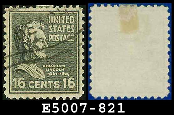 1938 USA USED Scott# 821 � 16c Lincoln � 1938 Presidential Series