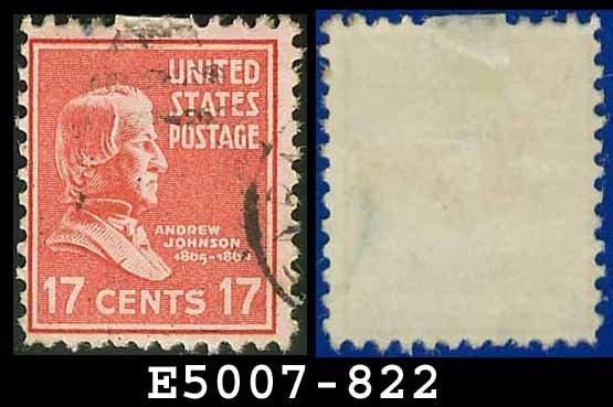 1938 USA USED Scott# 822 � 17c A Johnson � 1938 Presidential Series