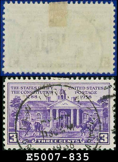 1938-39 USA USED Scott# 835 � 3c Colonial Court House � 1938-39 Commemoratives