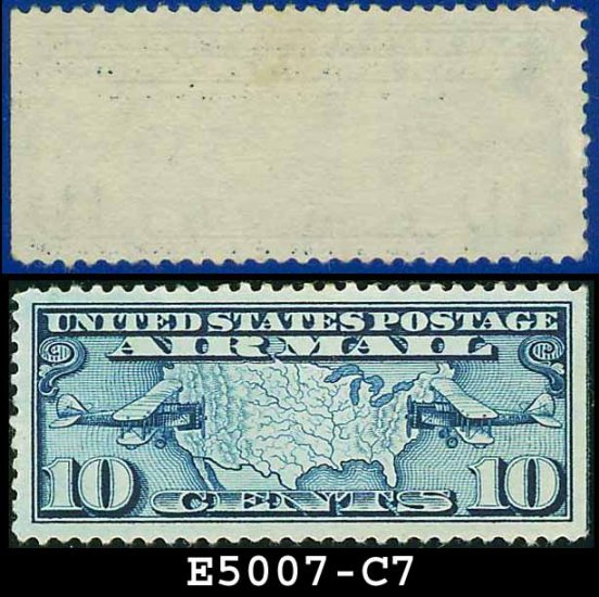 1926-27 USA UNUSED Scott# C7 � 10c US Map and Mail Planes � Air Mail Stamp