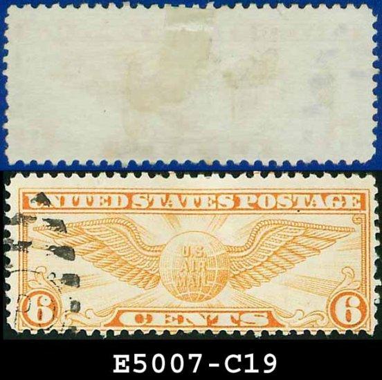1934 USA USED Scott# C19 � 6c Orange Winged Globe � Air Mail Stamp