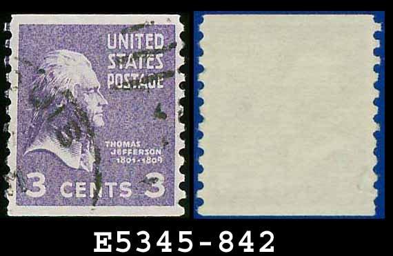 1938 USA USED Scott# 842 � 3c Jefferson � 1938 Presidential Rotary Coil Series