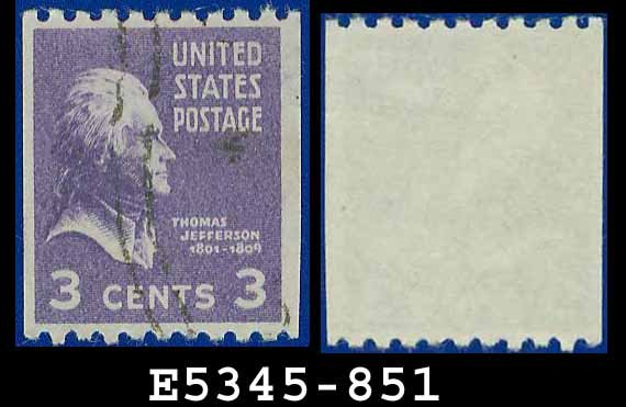 1938 USA USED Scott# 851 � 3c Jefferson � 1938 Presidential Rotary Coil Series
