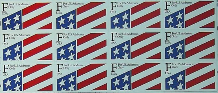 1991 USA UNUSED Scott# 2522 � 29c F Stamp Plastic Self-Adhesive Sheet of 12 E5111