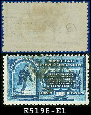 1885 USA USED E1 � 10c Blue Inscribed Messenger on Bicycle - Special Delivery Issue