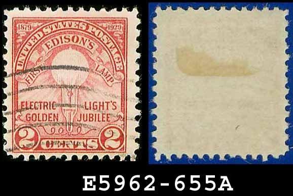 1929 USA USED Scott# 655 � 2c Edison�s First Lamp � Rotary Press 1929 Commemoratives