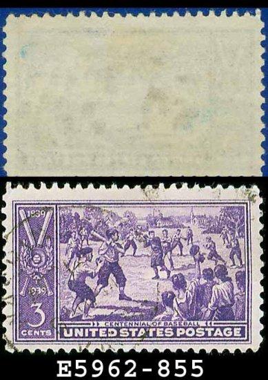 1939 USA USED Scott# 855 � 3c Sandlot Baseball Game � 1939 Commemoratives